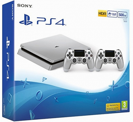 Silver PS4 console with 2 Dualshock 4 controllers