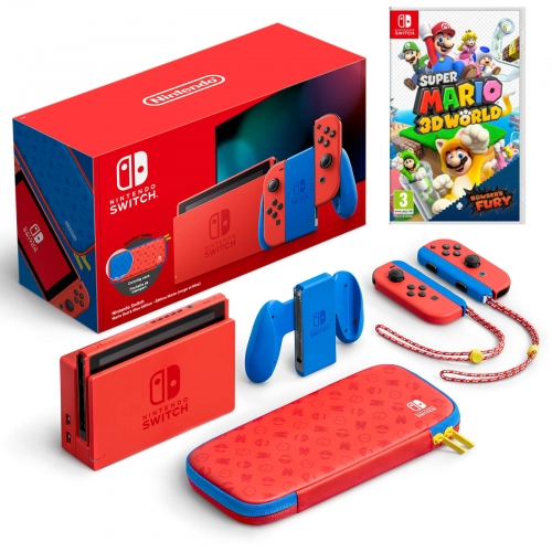 Nintendo Switch Mario Red & Blue Edition Console with Super Mario 3D World + Bowser's Fury Bundle