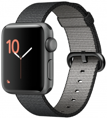 Apple Watch Series 2 38mm Grey Alu Case - Black Woven Nylon Band