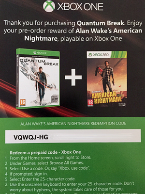 Thank You for purchasing Quantum Break - Enjoy Alan Wake's American Nightmare