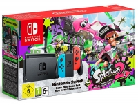 Nintendo Switch Bundle - Neon Red / Blue With Splatoon 2
