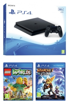 PS4 500Gb Slim With Lego Worlds And Ratchet And Clank
