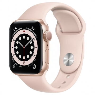 Apple Watch Series 6 GPS Gold Aluminium Case with Pink Sport Band