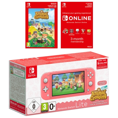 Nintendo Switch Lite Coral + Animal Crossing: New Horizons + 3 Months Online
