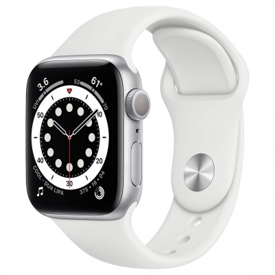 Apple Watch Series 6 GPS Silver Aluminium Case with White Sport Band