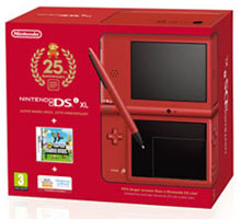 Red Special Edition DSi XL with New Super Mario Bros