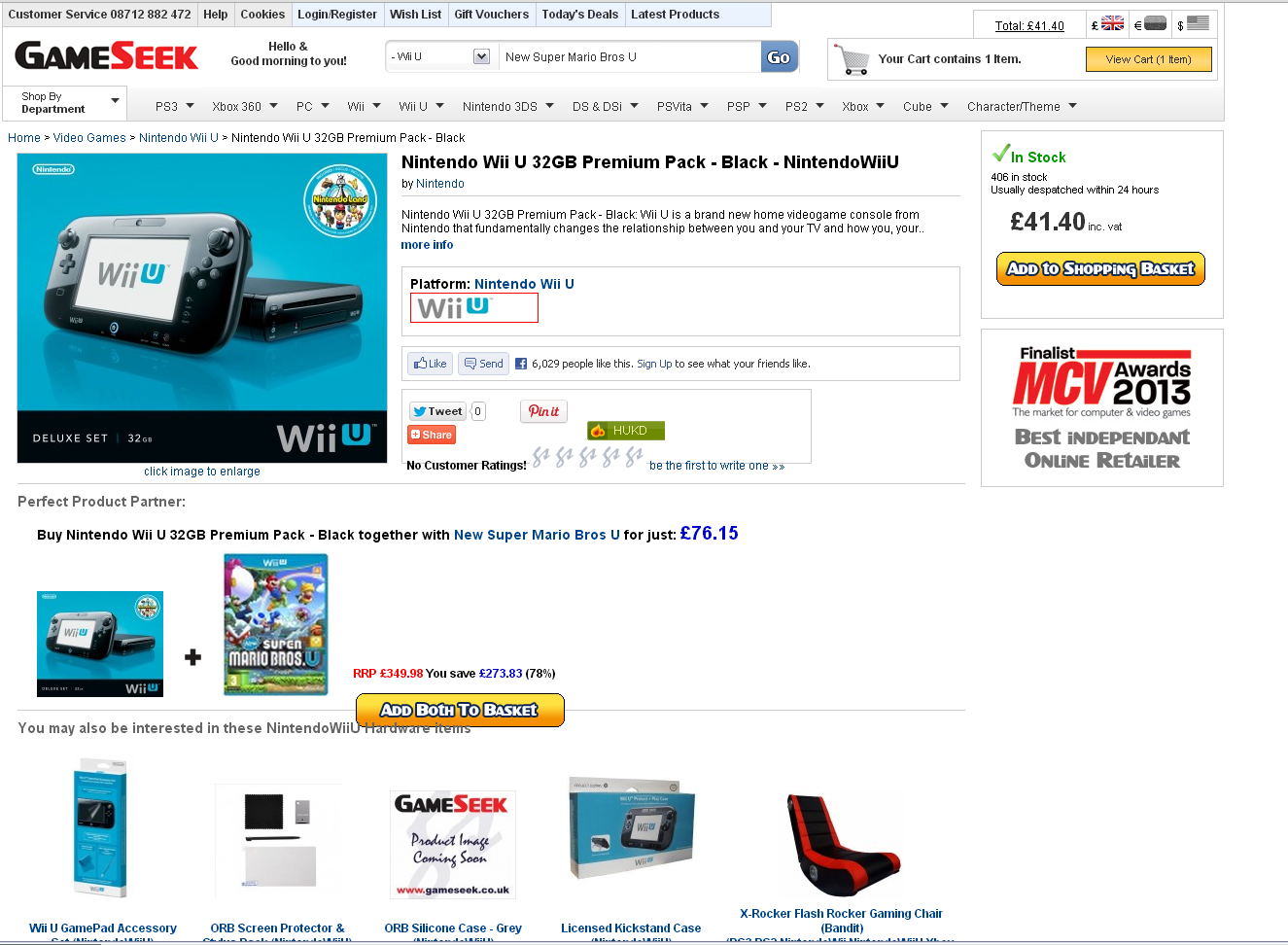 Quick grab this cheap nintendo wii u for only £41.40! Gameseek have some pricing errors on consoles again!